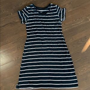 Maternity - black and white striped dress